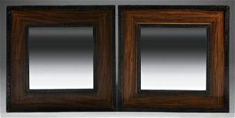 Art Deco-Style Rosewood and Wrought Iron Mirrors