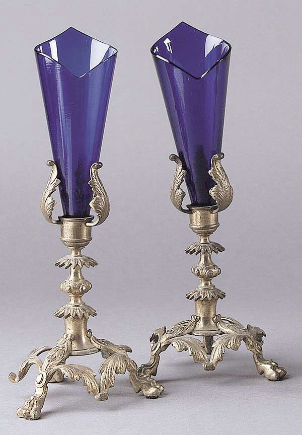 0015: A Pair of Cast Brass Bouquet Holders W