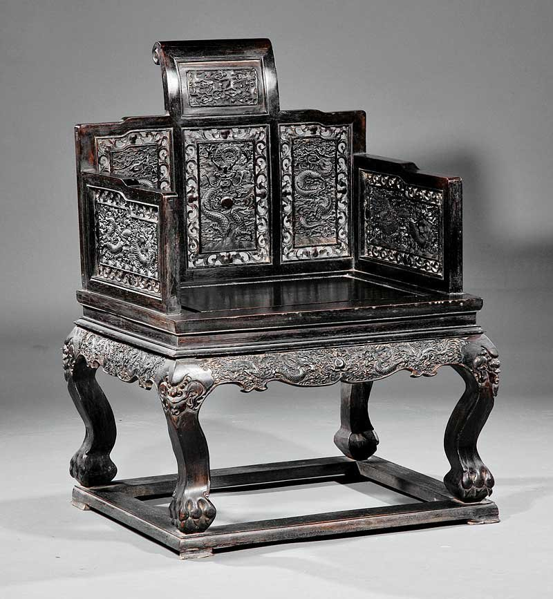 "A Chinese Hardwood ""Throne"" Chair, Baozuo"