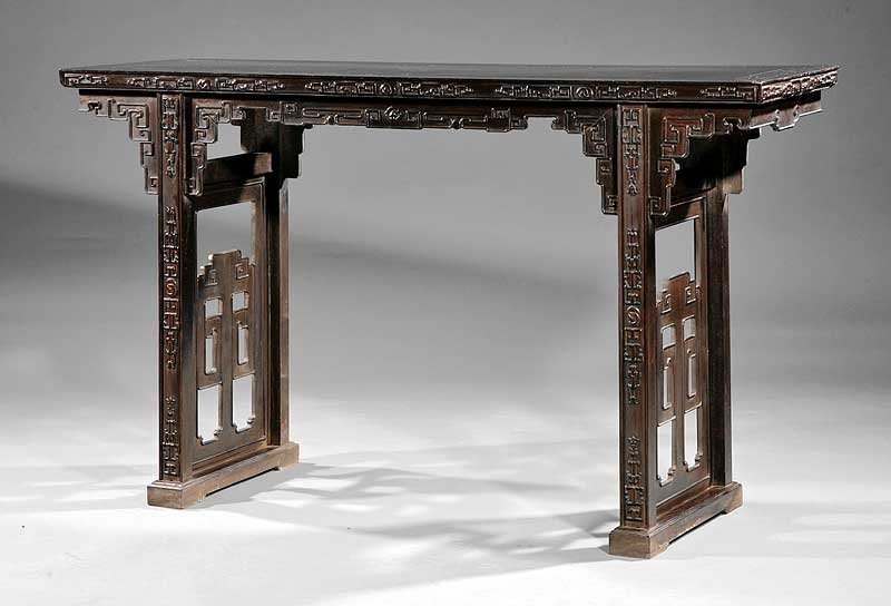 A Chinese Hardwood Recessed Leg Table