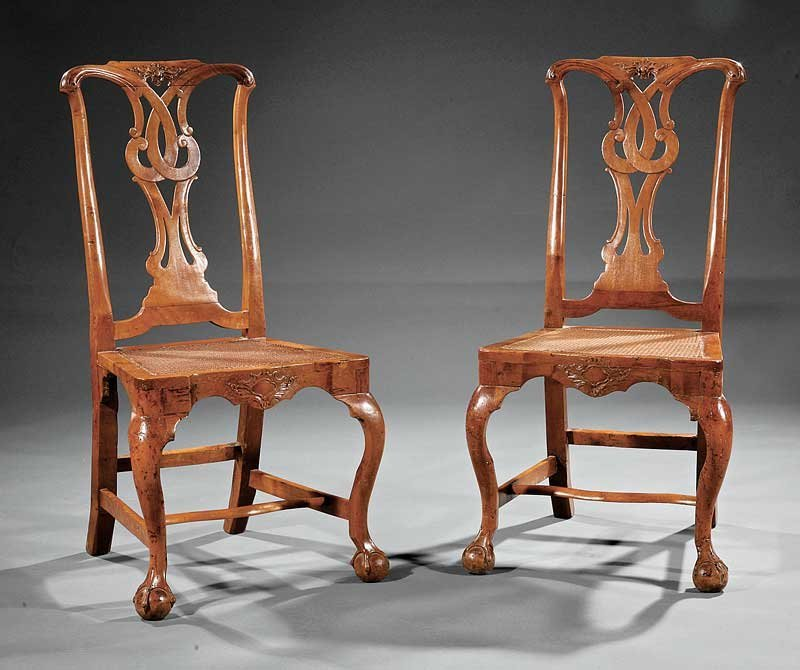 A Pair of George II Carved Walnut Side Chairs