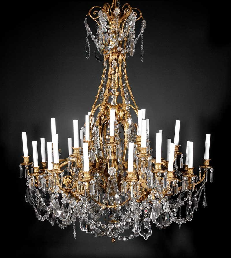 Louis XV-Style Gilt Bronze Cut Crystal Chandelier