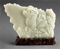 A Chinese Celadon Jade Plaque