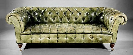 Vintage Green Leather Chesterfield Sofa