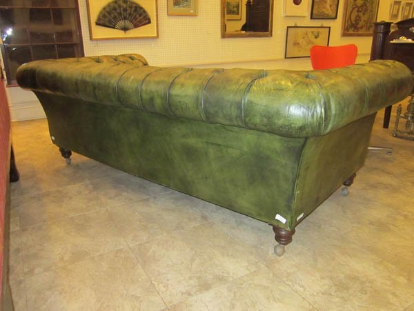 Vintage Green Leather Chesterfield Sofa - 2