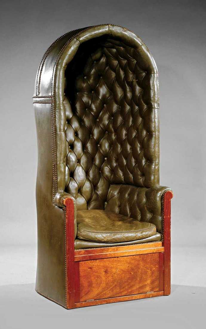 Georgian Style Tufted Leather Quot Porter S Chair Quot