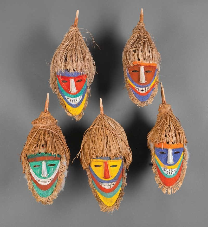 A Group of Five Tolai Polychrome Painted Carved W