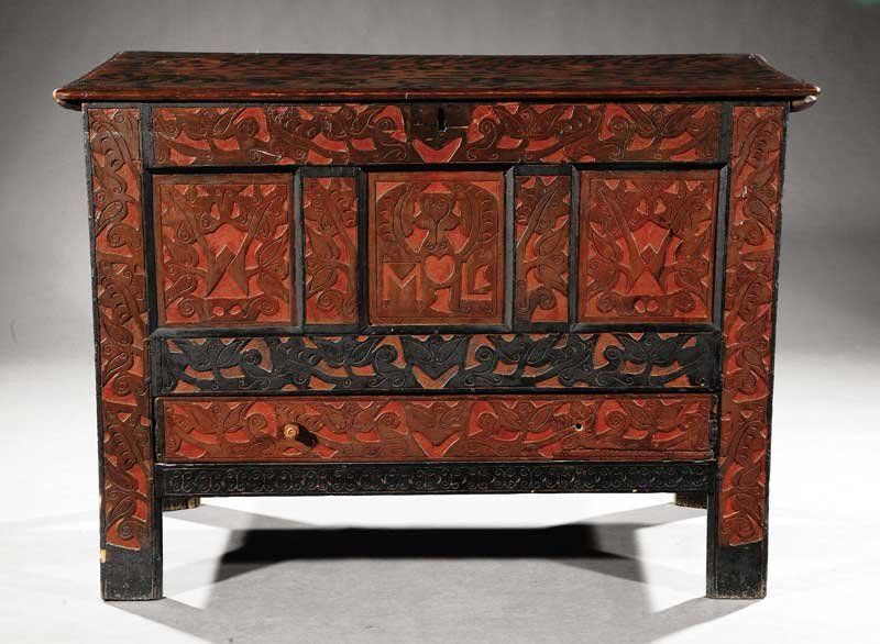 "Mary Lawrence Carved Painted Oak ""Hadley"" Chest"