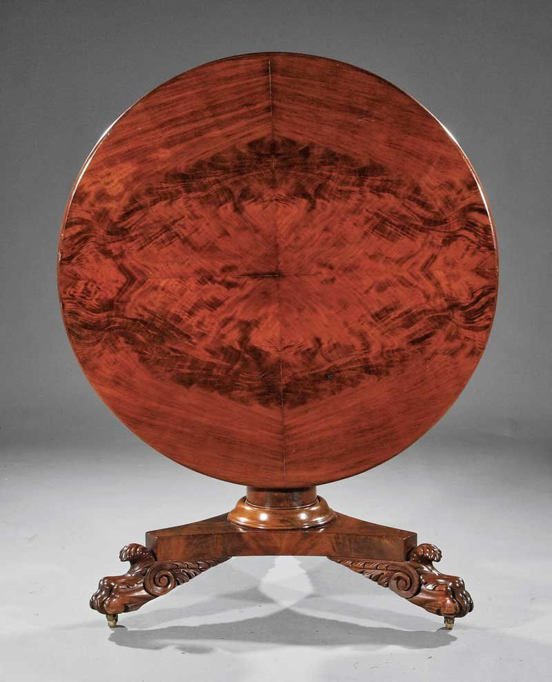 Carved Mahogany Center Table, school of Quervelle
