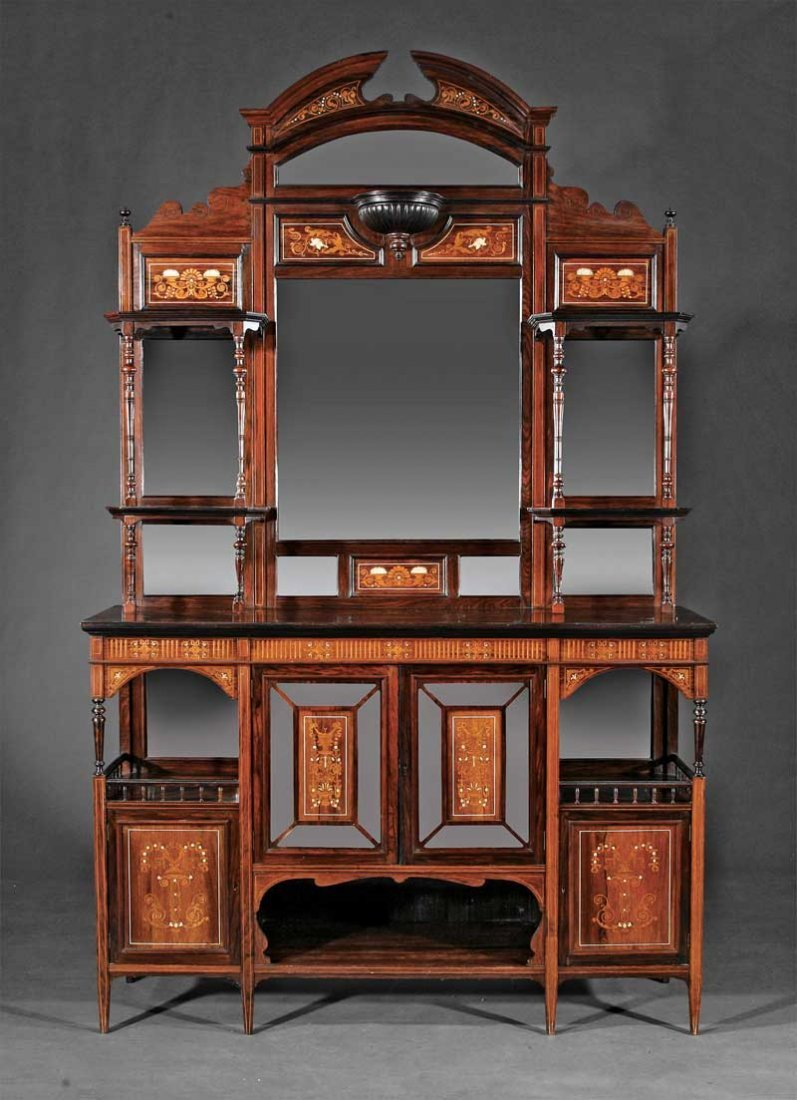 Rosewood and Marquetry Etagere Cabinet,  Horner