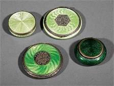 Guilloche Enamel Objects in Shades of Green
