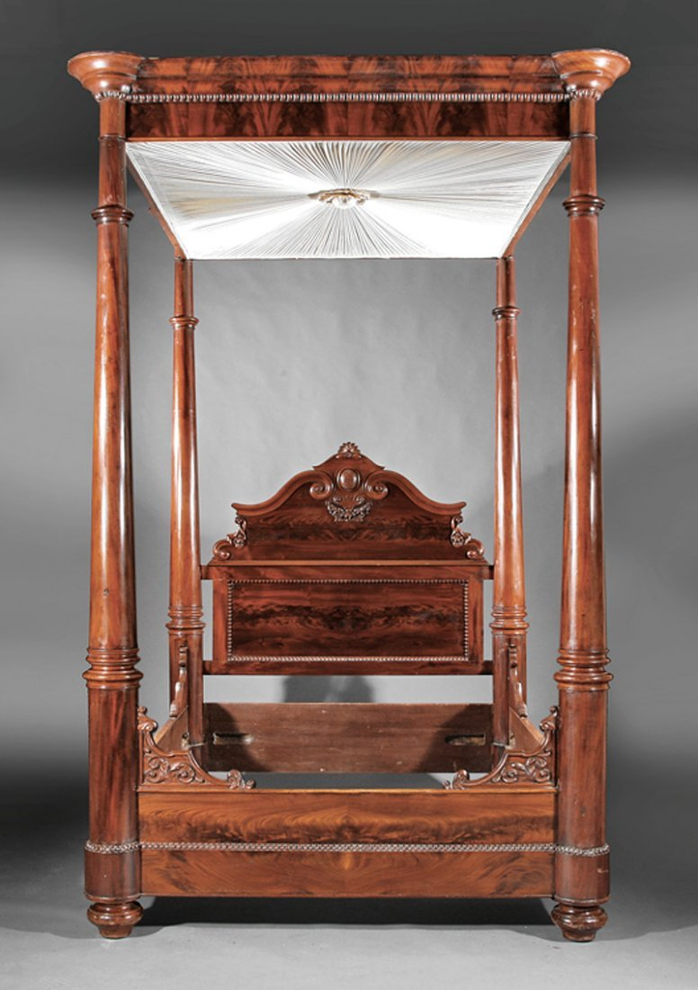 American Carved Mahogany Full Tester Bed