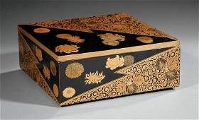 Japanese Gilt Decorated Black Lacquer Square Box