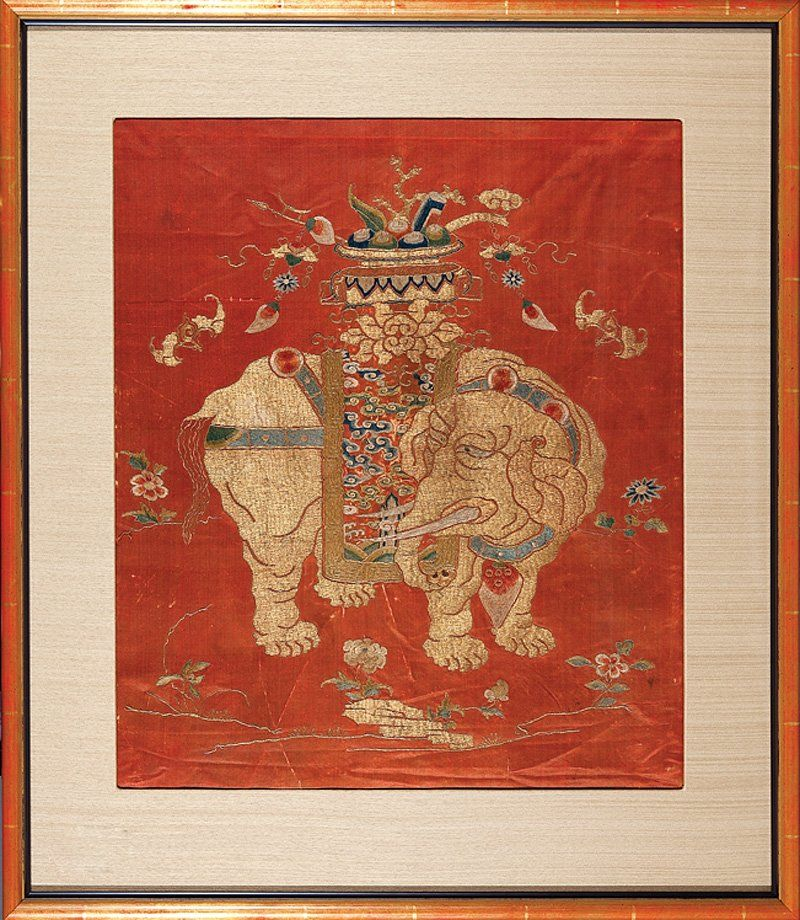 A Chinese Red Silk Embroidery Panel