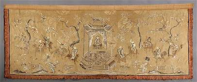 A Chinese Embroidered Beige Silk Brocade Frontal