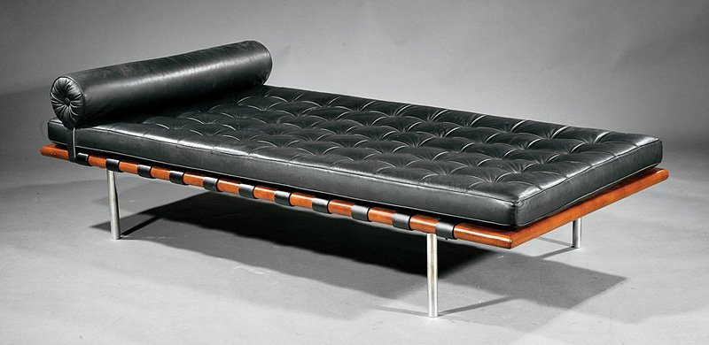 Chrome, Walnut and Leather Barcelona Couch