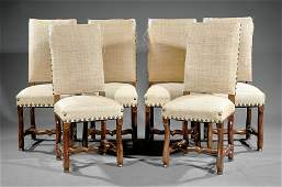 Eight Louis XIVStyle Carved Walnut Dining Chairs