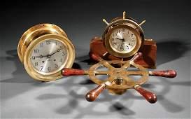 Two American Brass Ship's Clocks