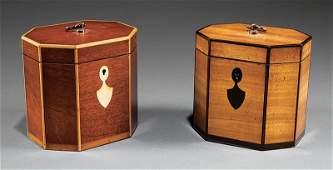 Two Georgian-Style Inlaid Satinwood Tea Caddies