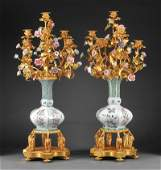 Porcelain and Gilt Bronze Candelabra