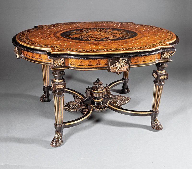 Shell and Rosewood Inlaid, Ebonized Center Table
