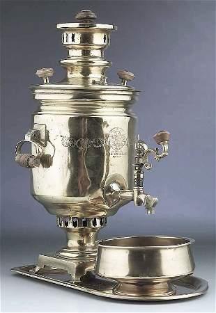 A Good Russian Brass Samovar Set