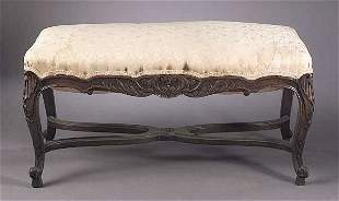 A Louis XV-Style Carved Walnut Bench