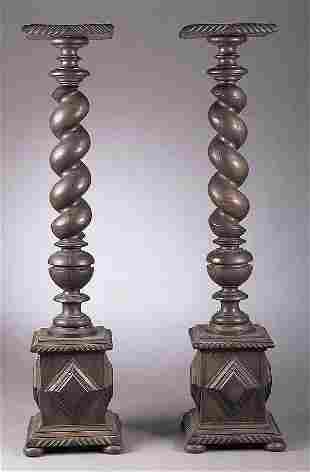A Pair of Victorian Carved Walnut Torc