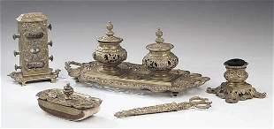 A Gilt Bronze Five-Piece Desk Set in t
