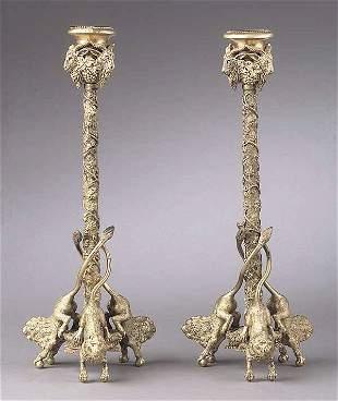 A Pair of Regency-Style Gilt Bronze Ca