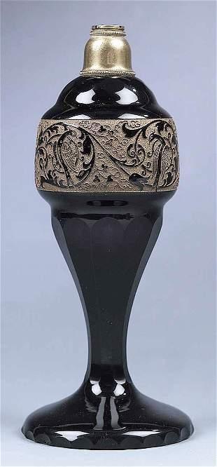 A Moser Amethyst Glass Oil Lamp