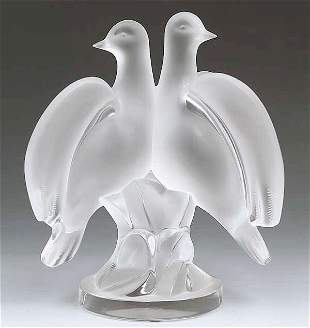 A Lalique Frosted and Molded Glass Fig