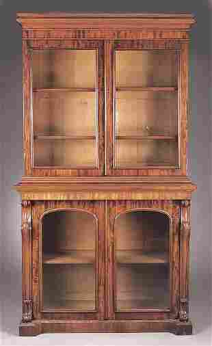 A William IV Mahogany Bookcase and Cab