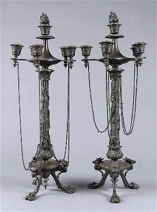 A Pair of Italian Patinated Bronze Fiv