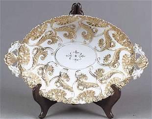 A Meissen Gilt Porcelain Oval Dish