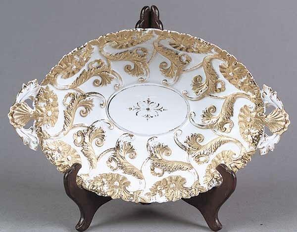 0729: A Meissen Gilt Porcelain Oval Dish