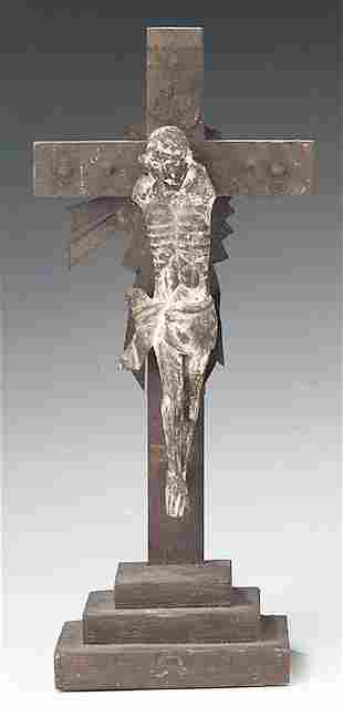 An Antique Carved Wood Crucifix