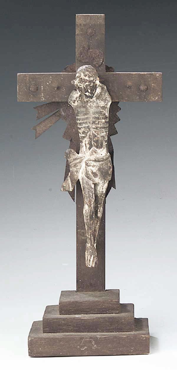0739: An Antique Carved Wood Crucifix