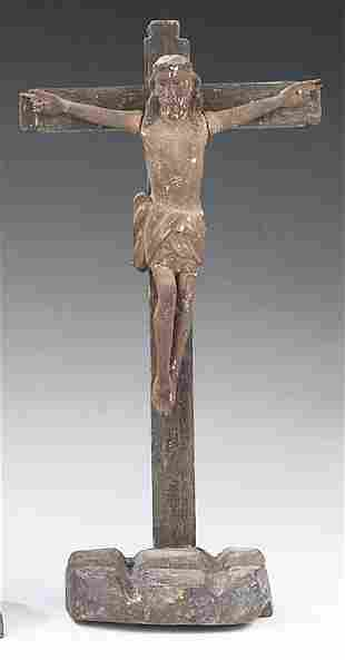 An Antique Rustic Carved Wood Crucifix