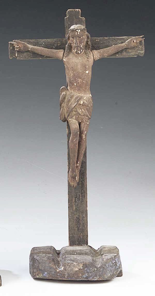 0741: An Antique Rustic Carved Wood Crucifix