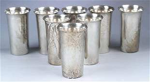 A Set of Eight Sterling Water Goblets