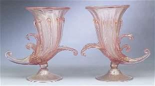 A Pair of Venetian Glass Cornucopia Va