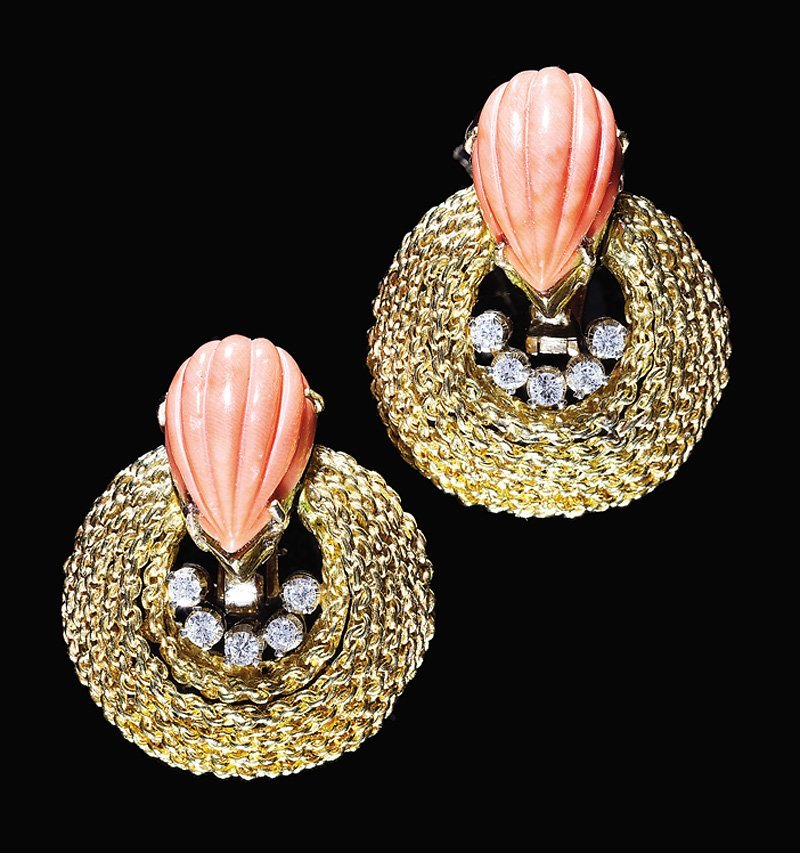 Yellow Gold, Pink Coral, Diamond Ear Clips