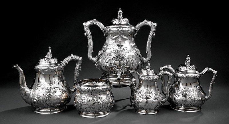Coin Silver Tea Service, Kuchler & Himmel