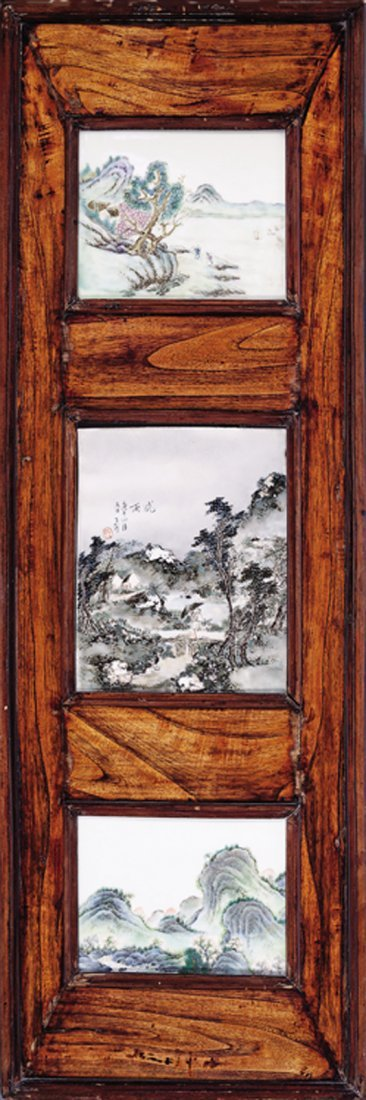 Chinese Porcelain Inset Carevd Wood Wall Hangings