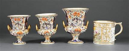 """Three Derby """"Imari"""" Porcelain Garniture Urns"""