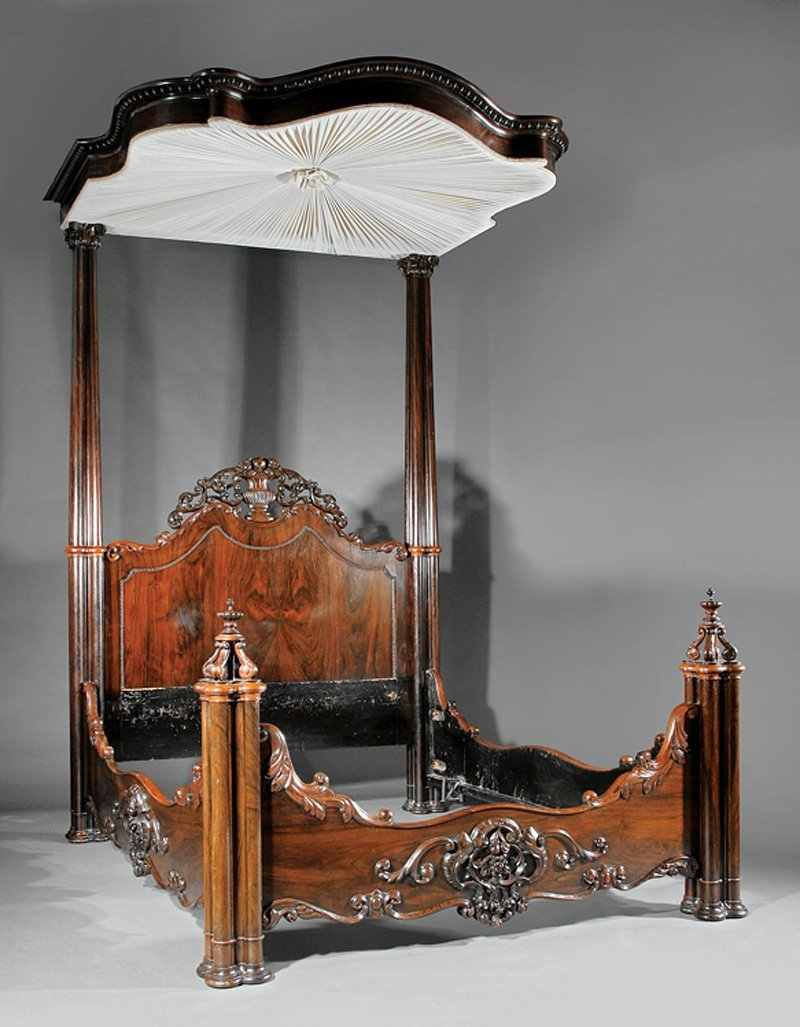 American Rococo Carved Rosewood Half Tester Bed