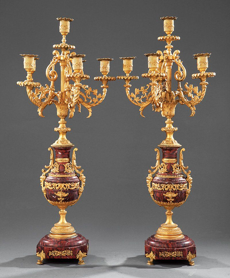 Gilt Bronze and Rouge Marble Six Light Candelabra