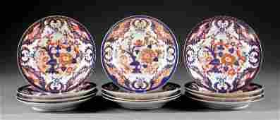 Derby Polychrome and Gilt Porcelain Plates