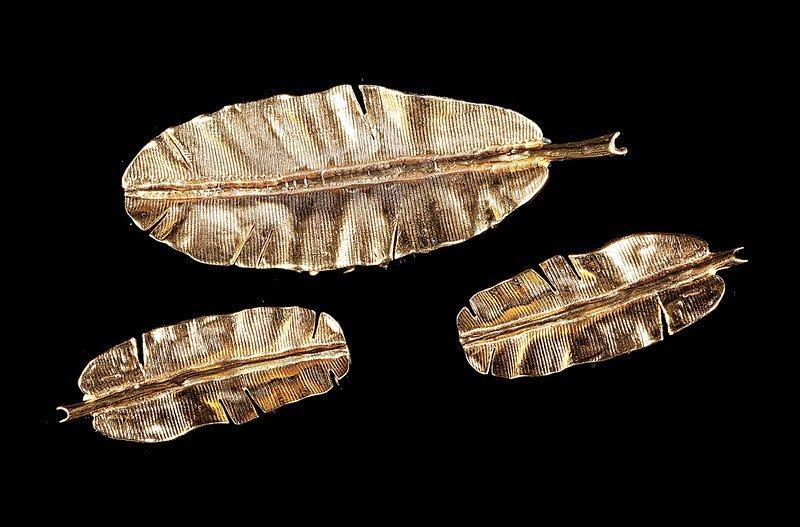 Mignon Faget Gilt Metal Banana Leaf Pin/Earrings